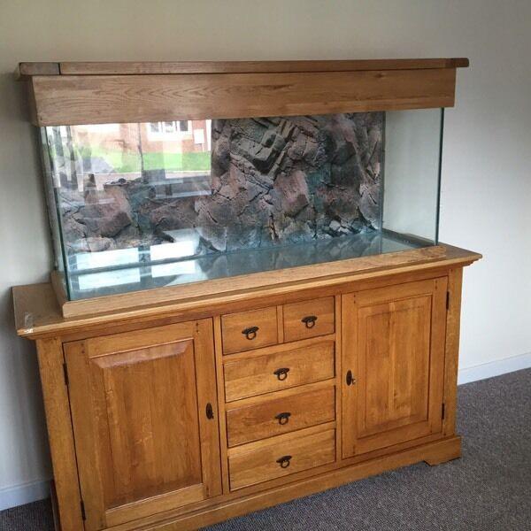140 Cm Oak Aquarium Solid Cabinet And Hood Fx5 Filter Led Lights
