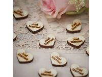 25 X Just Married Wooden Heart - Wedding Confetti