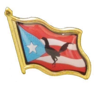 Puerto Rico Coqui & Rooster Pin ( Boricua & Rican ) Pinback Tie Hat Country  ()