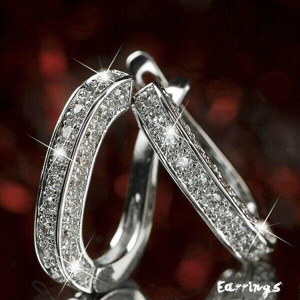 Jewellery - Elegant 925 Silver,Gold,Rose Gold Hoop Earrings for Women Jewelry A Pair/set