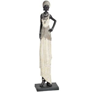 Tall African Lady Black And Silver Ornament Figurine Ebay