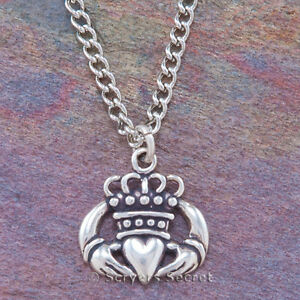 925 sterling silver CELTIC CLADDAGH Charm Irish Love HEART Pendant 20