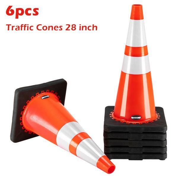 """PACK OF 6 Road Traffic Cones 28"""" Self weighted Safety Chassis Reflective Cone"""