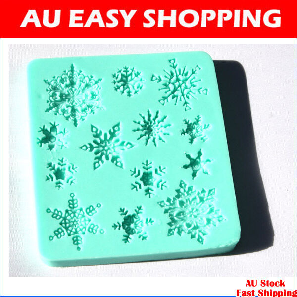 snowflakes snow silicone fondant cake molds soap chocolate mould A1