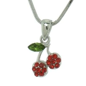 Cherries Made With Swarovski Crystal Cherry Pendant Necklace Chain Jewelry GIft