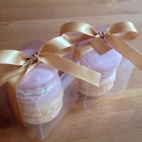 Wedding favour box of two custom colour french macarons