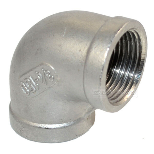 """304 Stainless Steel 3/4"""" Elbow 90 degree Angled Pipe Fits Female Threaded Pipes"""