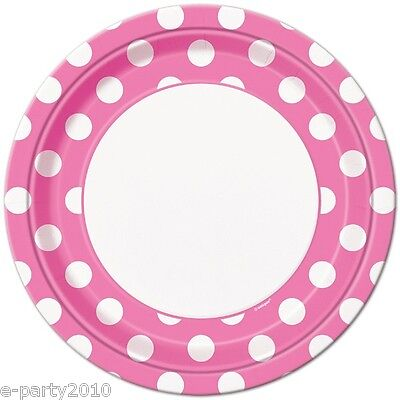 PINK POLKA DOT LARGE PAPER PLATES (8) ~ Birthday Party Supplies Dinner Luncheon