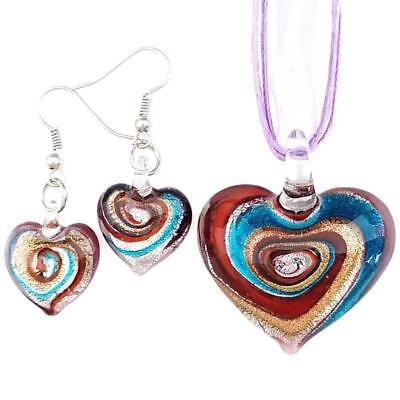 Purple Silver Swirl Heart Lampwork Glass Murano Pendant Necklace Earrings Set Purple Murano Heart Pendant