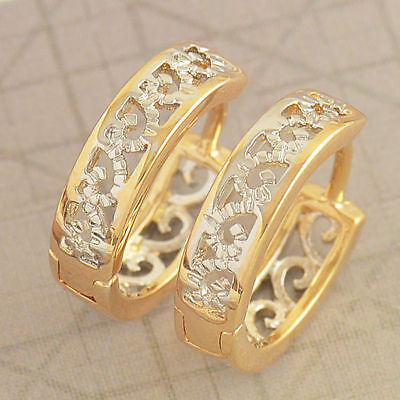 (Cute Fashion 18K Gold Filled Hollow Womens Two Tone Snap  Openwork Hoop Earring)