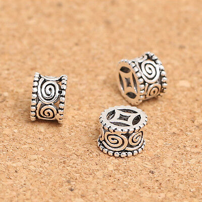 THAI .925 SILVER 8mm x 5mm ORNATE COLUMN SPACER BEADS #200 (Lot of 2)