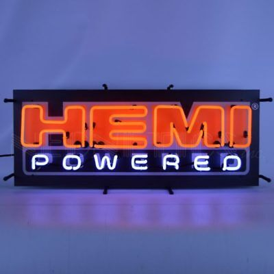 """Hemi Powered"" Neon Sign With Backing 5HEMBK w/ FREE Shipping"