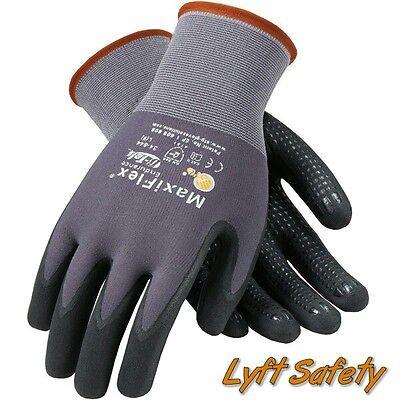 Maxiflex Endurance Gloves 15g Grey Nylon Black Micro Large Hand Protection Work