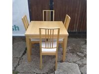 Solid Beech Effect Extending Table + 4 Chairs
