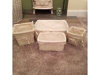 White wicker baskets