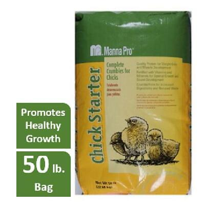 Manna Pro Family Farm Medicated Chick Starter Crumble Chicken Feed 50 Lbs.
