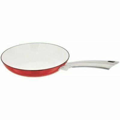Stellar Easy Lift Cast Iron Fry Cream Frying Pan 30cm Red