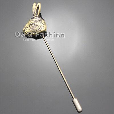 Retro Copper Rabbit Head Hare Lapel Stick Pin Tie Hat Brooch Alice in Wonderland