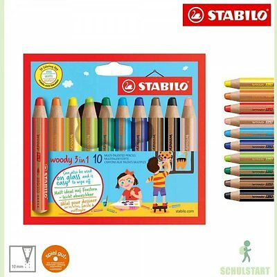 10 STABILO woody Buntstifte 3-in-1 Multitalent Farbstifte Wachsmalstifte