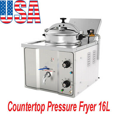 110v Commercial Electric Countertop Pressure Fryer 16l Stainless Chicken Fish Us