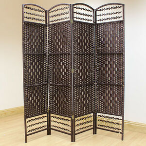 brown 4 panel wicker room divider hand made privacy screen separator