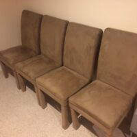 (4) light brown ultra suede parsons dining chairs