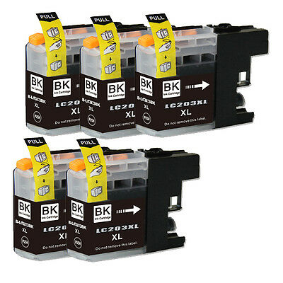 5 NEW Black Printer Ink for Brother Series LC203 LC201 MFC