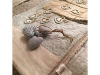 Single beige and blue bedspread and sham