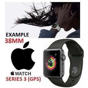 RFB APPLE WATCH SERIES 3 38MM MR352LL/A 222679184 GPS SPACE GREY ALUMINUM CASE W/GREY SPORT BAND REFURBISHED