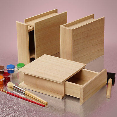 New Wooden box unfinished Paulownia wood W/Small Drawer Resembles Hardcover Book