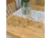6 hi-ball glasses and glass jug from marks and Spencer harvest range