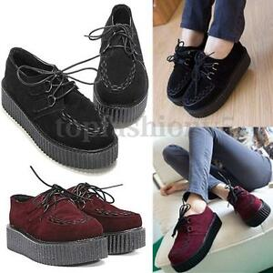 Donna-Creepers-Scarpe-Lacci-Plateau-Piatto-Goth-Punk-Zeppa-Suede-Zatteroni-Shoes