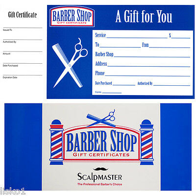 Barber Shop GIFT CERTIFICATES BOOK of 50