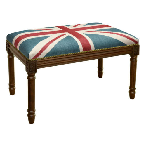 BENCHES - UNION JACK UPHOLSTERED BENCH - VANITY BENCH - WOOD STAIN FRAME