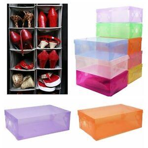 4 pcs clear plastic shoe storage transparent boxes container organizer holder. Black Bedroom Furniture Sets. Home Design Ideas