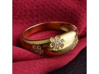 Vintage Rhinestone Engraved Floral Ring For Women