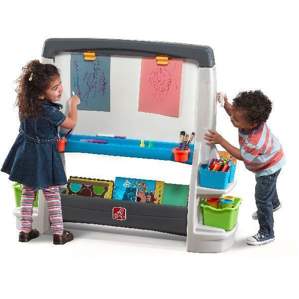 Preschool Learning Whiteboard Chalkboard Storage Bin Step2 Jumbo Art DoubleSide
