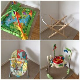 Jumperoo, play gym, bouncer and stand for Moses basket