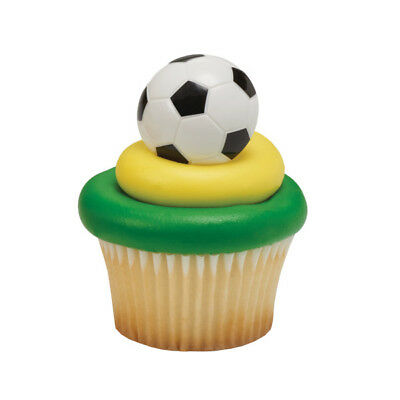 Soccer Ball cupcake rings (24) party favor cake topper - Soccer Cupcake Toppers