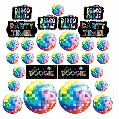 Value Pack Cut Outs (Mega Value Pack of 30 Let's Boogie 1970's Disco Themed Cut-Outs Decorations New)