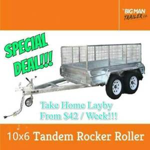 10x6 Tandem Galvanised Trailer 600mm Cage Rocker Roller 2000KG Carrum Downs Frankston Area Preview
