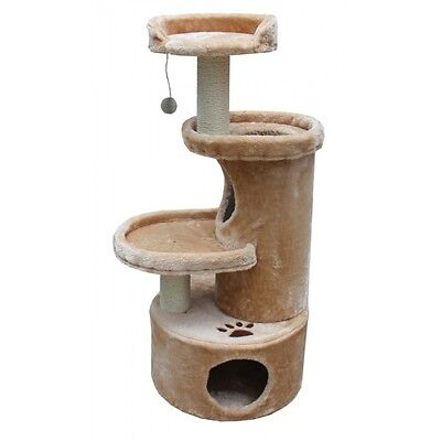 Cat Furniture Tree House Post Condo Tower 3 Tiered Scratchers Fur Covering Kitty
