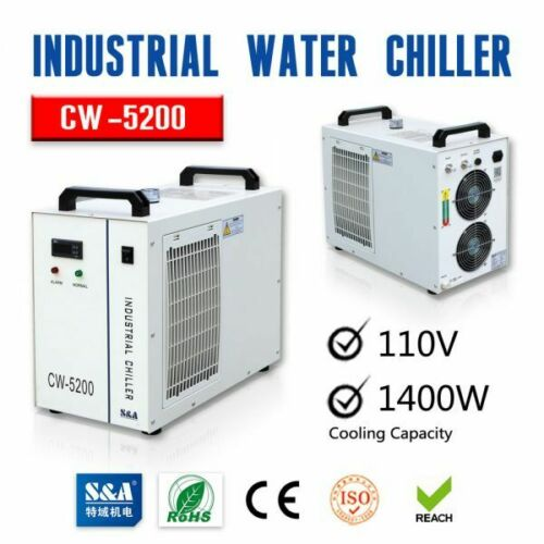 US Stock 110V CW-5200DH Industrial Water Chiller for 130W-150W CO2 Laser Cutter