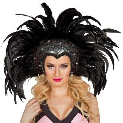 FM - Kostüm Zubehör Feder Kopfschmuck Showgirl schwarz Karneval  (Showgirl Feder Kopfschmuck Kostüm)
