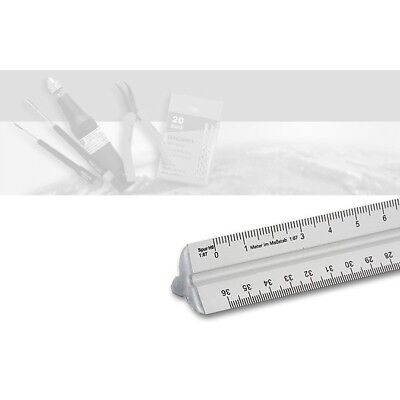 Dreikantmaßstab für den Modellbau Aluminium mit 6 Modellbaumaßstäben
