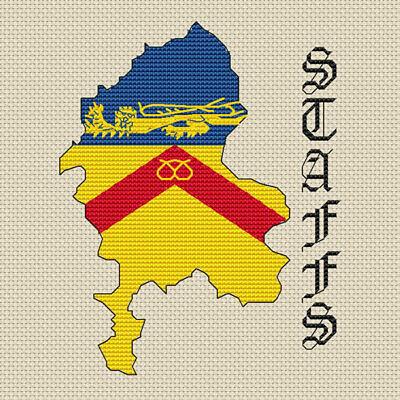 Cross Staffs (Staffordshire Map & Flag Cross Stitch Design (kit or)