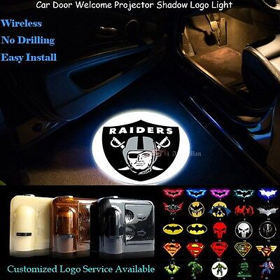 2x Oakland Raiders Logo Wireless Car Door Projector Puddle Shadow CREE LED Light