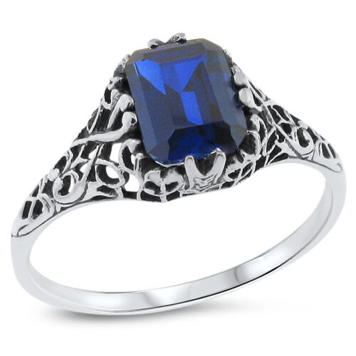 ROYAL BLUE LAB SAPPHIRE .925 STERLING SILVER ANTIQUE DESIGN RING,           #718
