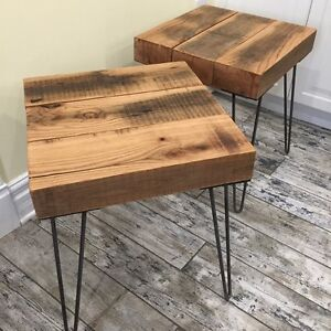 Pair of Reclaimed Wood End Tables on Vintage Style Hairpin Legs