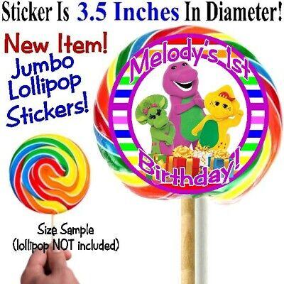 12 Barney Friends Birthday Party Baby Shower Jumbo Lollipop Stickers Baby Bop - Barney Birthday Party